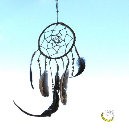 Acchiappasogni in corda e legno di ulivo con piume vere Malice's Craftland - riciclo creativo - artigianato sostenibile italiano