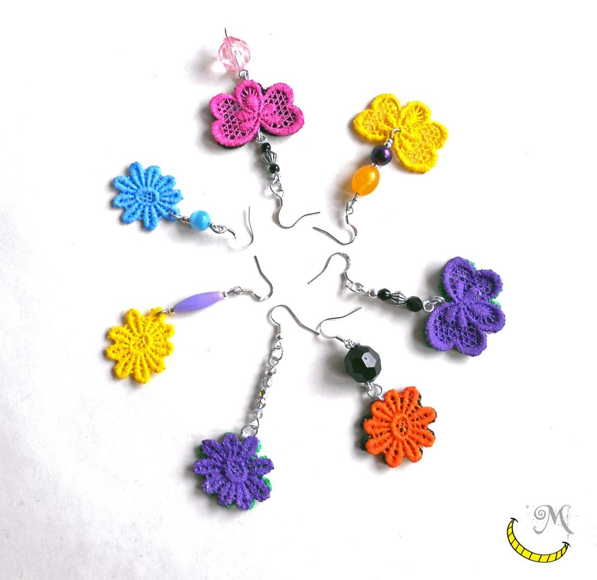 orecchini merletto e perline shabby Malice's Craftland - riciclo creativo - artigianato sostenibile italiano