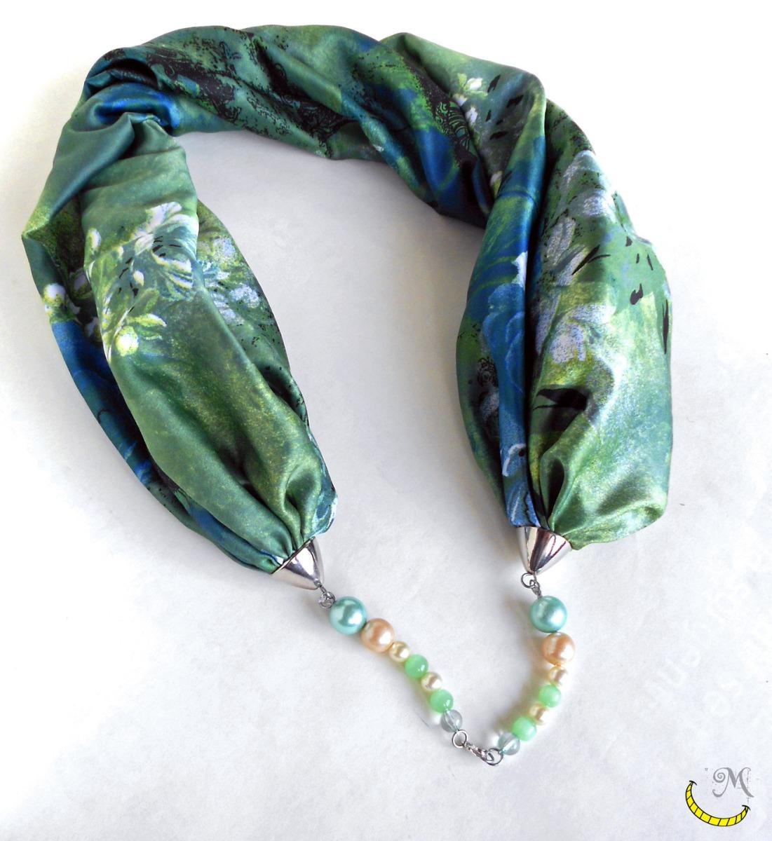 Foulard gioiello con perline e gancetto - nero - wrap scarf - Malice's Craftland - riciclo creativo - artigianato sostenibile italiano