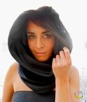 Sciarpa cappuccio - vintage - nero - wrap scarf - Malice's Craftland - riciclo creativo - artigianato sostenibile italiano