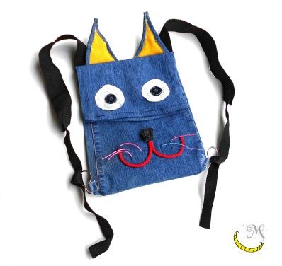 Zainetto - sacca - a forma di gatto - per bambini Malice's Craftland - riciclo creativo - artigianato sostenibile italiano