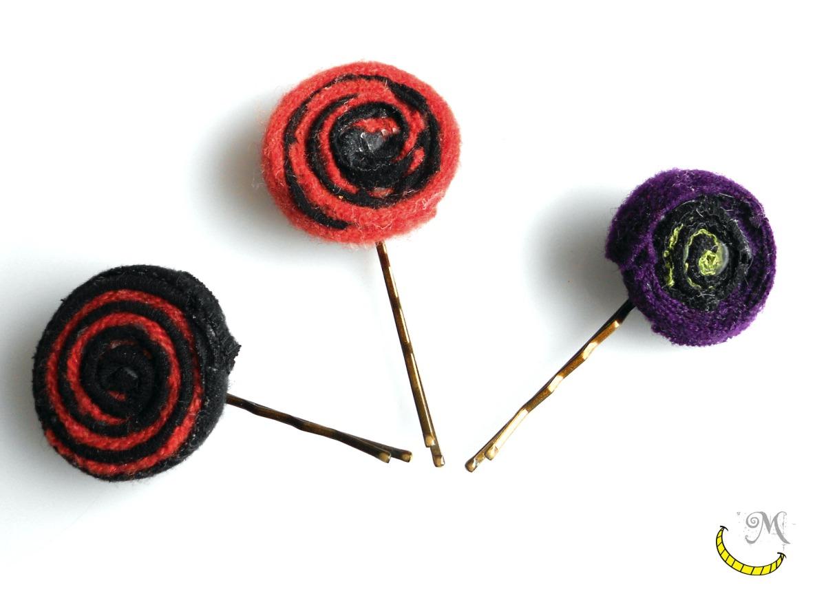 ferretti per capelli - tessuti riciclati - Malice's Craftland - riciclo creativo -