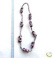 Collana filo unico - sughero e stoffa- Malice's Craftland - riciclo creativo -