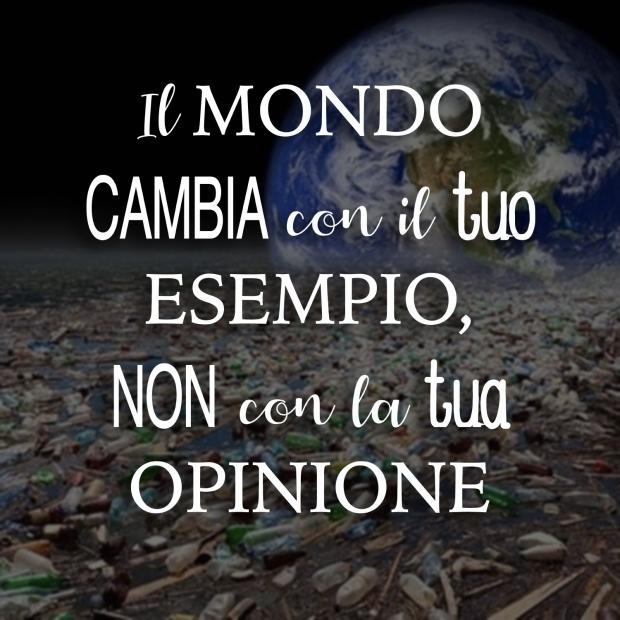 Il mondo cambia con il tuo esemplio non con la tua opinione